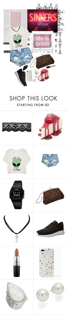 """""""Life of Greatests"""" by lady-wednesday ❤ liked on Polyvore featuring OneTeaspoon, Casio, Louis Vuitton, adidas NEO, MAC Cosmetics, Kate Spade, Konstantino and AK Anne Klein"""