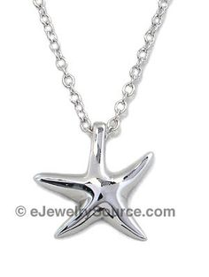 STERLING SILVER JEWELRY - Designer Inspired Sterling Silver Starfish Necklace (photo © eJewelrySource.com)