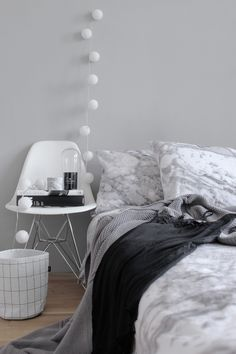 Bedroom | white, light grey and black | cottonballs-light | chair | modern-scandinavian