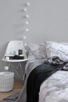 Bedroom | white, light grey and black | cottonballs-light | chair | modern-scandinavian