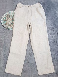 Travelsmith Womens Pants Size 10 Turel Beige Linen Blend Straight Leg High Rise #TravelSmith #Linen #CasualCareer