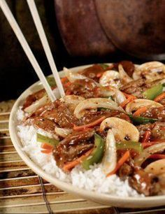 Fried beef with onions and mushrooms Thai rice - recette - Asian Recipes Best Soup Recipes, Meat Recipes, Healthy Dinner Recipes, Asian Recipes, Cooking Recipes, Ethnic Recipes, Cooking Time, Quick And Easy Soup, Fried Beef