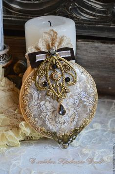 """Купить Медальоны елочные """"Вивьен"""" - елочные игрушки, елочное украшение, украшение для елки, новогодние медальоны"""