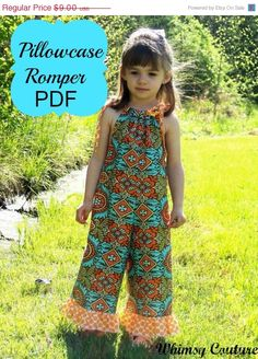 Whimsy Couture Sewing Pattern Tutorial PDF -- Pillowcase Romper -- preemie through 10 girls w. Love Sewing, Sewing For Kids, Baby Sewing, Sewing Tips, Sewing Hacks, Sewing Tutorials, Sewing Clothes, Diy Clothes, Couture Sewing
