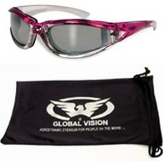 Padded Women Lady Motorcycle Sunglasses Glasses Pink and Chrome With Storage Bag by GV. $18.69. Pink Sunglasses with padding.Called the FlashPoint and made by Global Vision.Comes with a free soft micro fiber pouch that can be used for carrying glasses or as a cleaning cloth.. Save 25%!