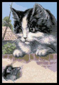Cat and mouse cross stitch kit or pattern
