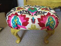 Deep Buttoned Ottoman, Annie Sloane English Yellow, Waverly Santa Maria Desert Flower