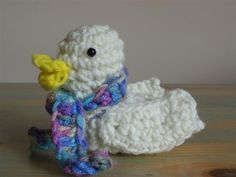 "Crochet duck! Found a pattern. My mom made a similar one that I cherish and have been wanting to figure out how to make more for my family. The one my mom made, you fill it with jelly beans at Easter, squeeze it's tummy and well, let's just say we all call it a ""pooper duck!"""