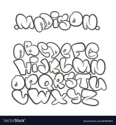 Illustration about Cartoon alphabet in the style of comics. Illustration of education, decorative, graffiti - 75863667 Free Graffiti Fonts, Graffiti Alphabet Styles, Graffiti Lettering Alphabet, Graffiti Words, Graffiti Doodles, Tattoo Lettering Fonts, Graffiti Drawing, Cool Lettering, Lettering Styles