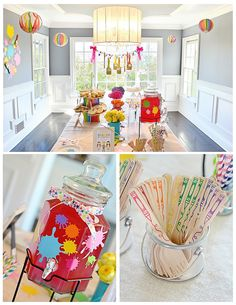 Love the hanging paintbrush garland at this art-themed birthday party!