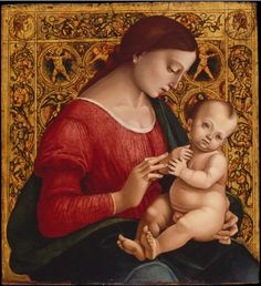 Luca Signorelli - Madonna and Child, oil and gold on wood. ca. 1505-7,
