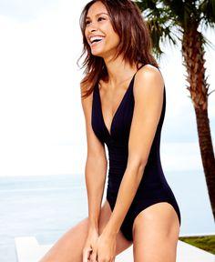 Lauren Ralph Lauren Deep-v Ruched One-Piece Swimsuit