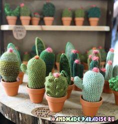 Cactus amigurumi patterns...in Japanese...on Russian website  Схемы вязания крючком цветущего кактуса