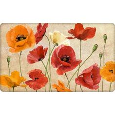 "Better Homes and Gardens 18"" x 30"" Velvet Comfort Poppies Kitchen Mat"