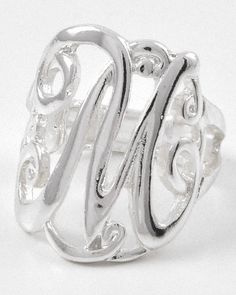 Silver tone initial stretch ring.