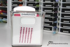 Embellishment Organization - You could use ziploc baggies with a piece of cardstock inside to help the baggies keep their shape.