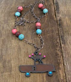 Rustic Truck with Crown Necklace with Pink and Teal Rhinestones and Magnesite Beads by SassyBelleWares