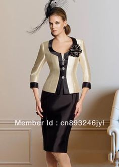 Champagne and Black Satin Cap Sleeve with Jacket Knee Length sexy mother of the bride dresses free photos