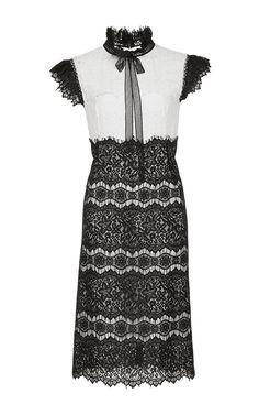 Ruffle Tie Neck Lace Mini Dress by COSTARELLOS for Preorder on Moda Operandi