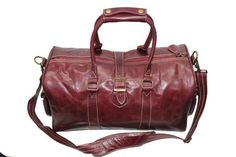Genuine Cowhide Leather Overnight Travel Bag