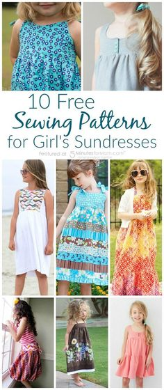 Sewing For Kids Clothes 10 Fabulous and Free Sewing Patterns for Girl's Sundresses - Have some summer fun sewing simple sundresses. Hereare 10 girl's sundress patterns that are all fabulous AND free to get you inspired to sew. Sewing Patterns Girls, Sewing For Kids, Baby Sewing, Free Sewing, Clothing Patterns, Dress Patterns, Knitting Patterns, Diy Clothing, Free Knitting