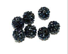 Midnight Blue Rhinestone Beads Resin Core 14mm 5 by simplysurina, $4.00