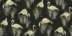 Lagoon Black (252600) - Arthouse Wallpapers - An elegant wallcovering featuring flamboyant flamingos amongst lagoon reads.