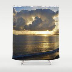 Sunset photo shower curtain art New Zealand beach by NewCreatioNZ