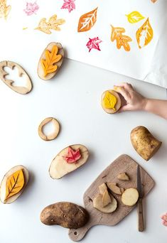 Potato Stamping Fall Leaves