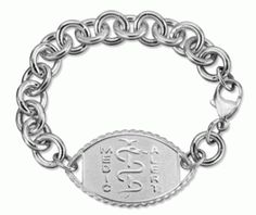 Large Sterling Silver Rope Edge Medical Id Bracelet With Cable Chain