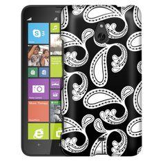 Nokia Lumia 1320 Paisleys Bold White on Black Slim Case