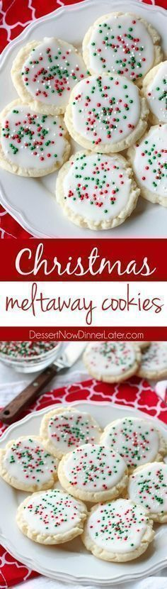 Meltaway cookies are a soft, lightly sweet shortbread cookie that literally melts away in your mouth. Top it with a thin glaze and red and green sprinkles for a festive Christmas cookie treat. - #ChristmasCookies #cookies #holidayrecipes #holidays