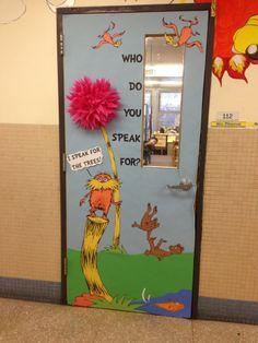 Elementary Library Ideas | Lorax Elementary Library Door (2013) | Read across America ideas