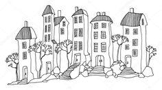 Výsledek obrázku pro perokresba domy