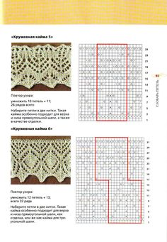 "Photo de l'album ""Border and lace-relief patterns"" sur Yandex.Disk - Photo from album ""Кайма и ажурно-рельефные узоры"" on Yandex. Lace Knitting Stitches, Lace Knitting Patterns, Cable Knitting, Knitting Charts, Lace Patterns, Knitting Designs, Stitch Patterns, Crochet Borders, Crochet Chart"