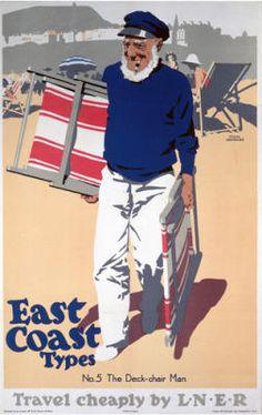Vintage Travel Poster - UK - East Coast Types No.5, The Deck-chair Man - Railway #eastcoast #art #vintage