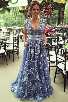 A-Line Deep V-Neck Sweep Train Blue Lace Prom Dress with Belt sold by FlyinDance. Shop more products from FlyinDance on Storenvy, the home of independent small businesses all over the world.
