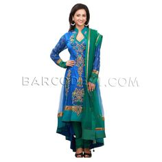 $539 Blue net trail cut anarkali suit is with embroidery.It comes with green churidar and green net dupatta.