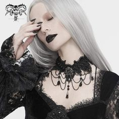"""Brand:EVA LADY Material:POLYAMIDE Weight:0.05KG Size:One Size (Neck Circumference:32CM/12.6""""-44CM/17.3"""") Sku:EAS008 Scalloped Lace, Victorian Gothic, Women's Accessories, Chokers, Vintage Fashion, Punk, Lady, Collection, Design"""