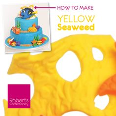 FInding Dory Cake: How to make Yellow Seaweed- Roll 40g of yellow Gum Paste, create an emboss affect using the Textured Mat. Cut holes using the punch cutters. Leave to dry. Full recipe on Roberts Confectionery website: http://www.robertsconfectionery.com.au/pages/recipe-sheets