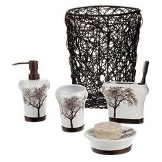 Tree Bath Collection....think i may redo my bathroom if i do the tree bedding and the headboard