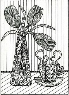 still life with zentangle ideas, can choose an item from the basket to draw. perhaps instead of making a sample we can make a worksheet that gives them sampe patterns to use to fill in their designs. I enjoy how the background is simple stripes (hatching).