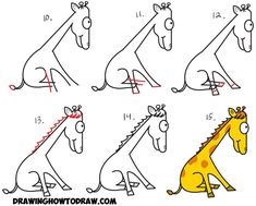 Learn How to Draw a Cartoon Giraffe from Lowercase Letter j Shape in Simple Step by Step Drawing Tutorial for Kids How To Draw Steps, How To Make Drawing, Drawing For Kids, Art For Kids, Cartoon Drawings, Animal Drawings, Easy Drawings, Cartoon Art, Girraffe Drawing