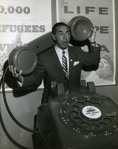 Eddie Cantor with oversized telephone Ill Communication, Big Drama, Clowning Around, Jewish History, Fundraising Events, Historical Society, Public Relations, Vintage Ads, Digital Image