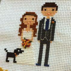 Custom Cross Stitch Family Portrait by WildwoodStitchCo on Etsy
