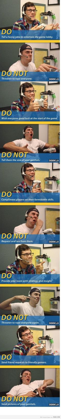 Some online game rules...hahaha!  The expressions on that one dude are too funny!!!