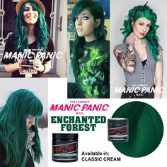 manic panic enchanted forest green hair mood board