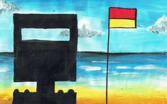 Art Lesson Ned Kelly at the Beach - Easy Peasy Art School. Step by step art lesson plan inspired by Sidney Nolan