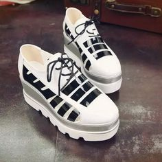 Fashion New Lace Up Thick Sole Creepers Slip On Shoes Flats Loafers White UK5