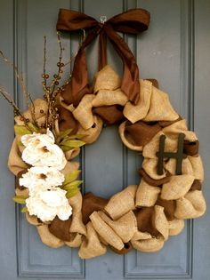 Burlap Wreath with Cream Flowers and by WoulfsCreations on Etsy, $55.00